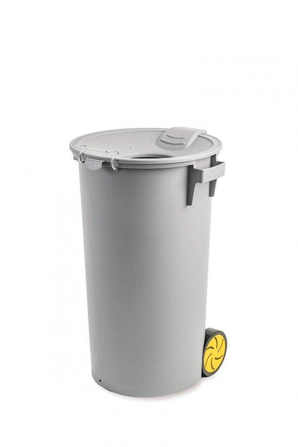 balde cinza c/ rodas, c/ tampa funil e protecção em borracha