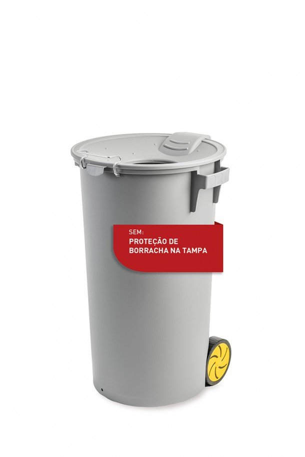 grey bin with funnel lid and wheels