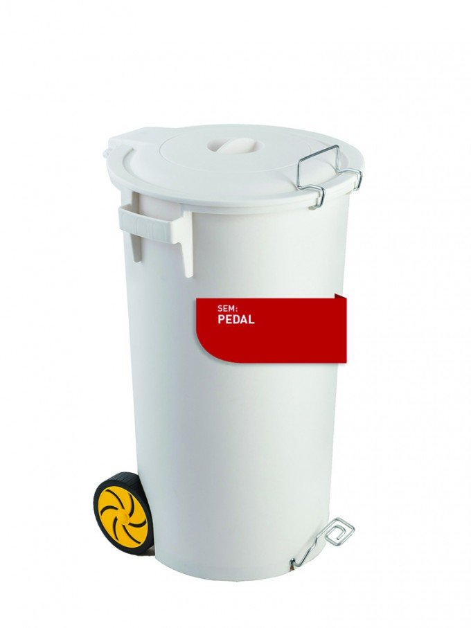 white bin with lid and wheels, without pedal