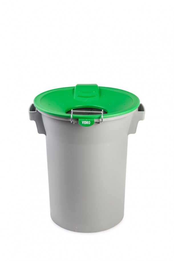 balde cinzento c/ tampa funil c/ protecção de borracha