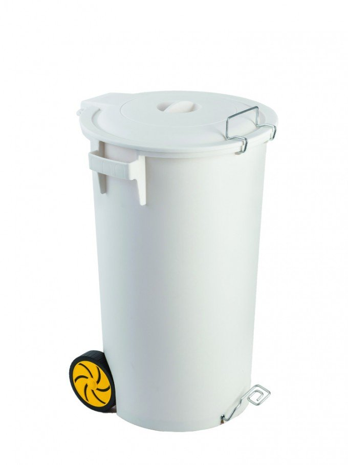 white pedal bin with lid and wheels