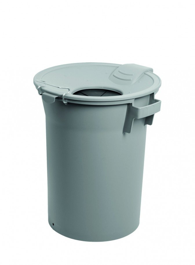 grey pedal bin with funnel lid with protective rubber
